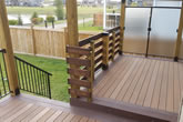 Stairs and composite deck with aluminium railings.
