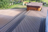 Composite deck with hot tub.
